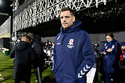 Middlesbrough manager Jonathan Woodgate  during the EFL Sky Bet Championship match between Fulham and Middlesbrough at Craven Cottage, London, England on 17 January 2020.