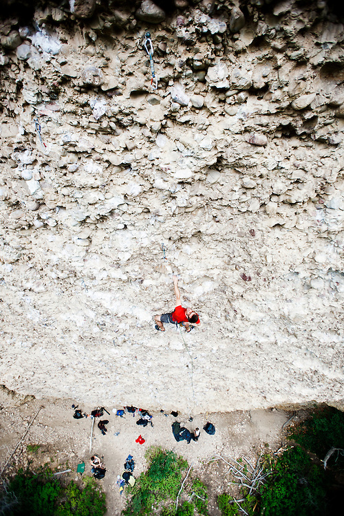 Marshall Balick on Popcorn, 5.12-. Craganmore, Maple Canyon, Utah