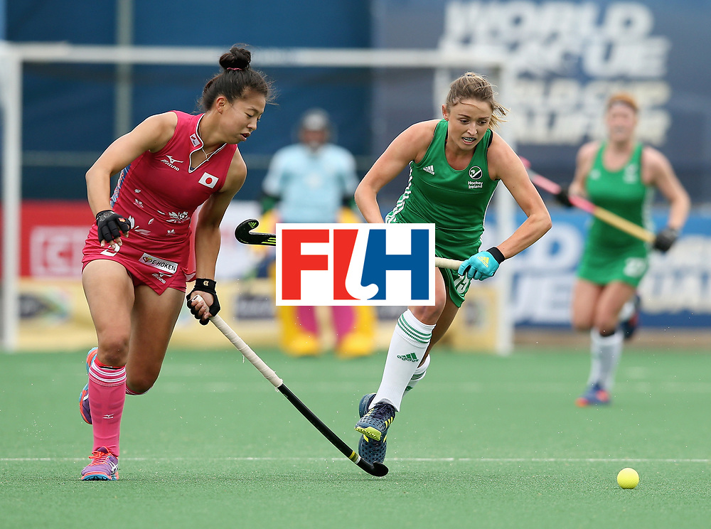 JOHANNESBURG, SOUTH AFRICA - JULY 8: Gillian Pinder of Ireland in action during the pool A match between Japan and Ireland on day one of the FIH Hockey World League Semi-Final at Wits University on July 8, 2017 in Johannesburg, South Africa. (Photo by Jan Kruger/Getty Images for FIH)