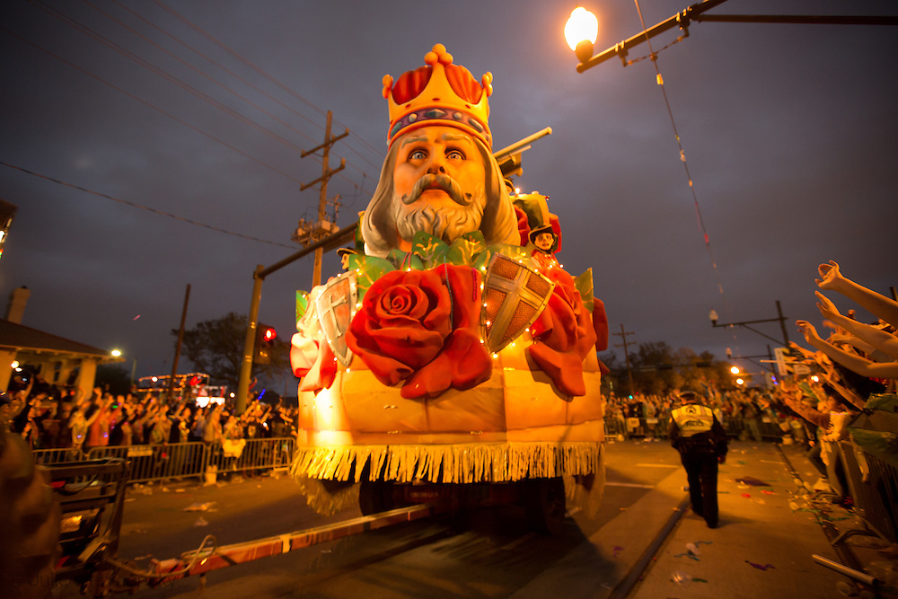 """New Orleans, LA, February 9, Float in the 2013 Krewe of Endymion Mardi Gras <br /> Parade rolls through Mid-City on the traditional route during the parades 47th year with the theme """"Ancient Mysteries""""."""