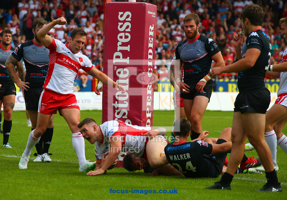 Robbie Mulhern of Hull Kingston Rovers scores the try as Shaun Lunt (L) celebrates  against  London Broncos during the Super 8's Qualifiers match at Craven Park, Hull<br /> Picture by Stephen Gaunt/Focus Images Ltd +447904 833202<br /> 20/08/2017