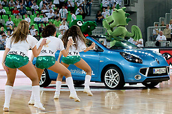 Cheerleaders Dragon Ladies and car Renault Wind during basketball match between KK Union Olimpija (SLO) and Power E. Valencia (SPA) in Group D of Turkish Airlines Euroleague, on November 17, 2010 in Arena Stozice, Ljubljana, Slovenia. (Photo By Matic Klansek Velej / Sportida.com)
