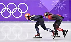 22-02-2018 SHORTTRACK: OLYMPISCHE SPELEN: OLYMPIC GAMES: PYEONGCHANG 2018<br /> Suzanne Schulting stunt met historisch goud op 1000 meter<br /> Suzanne rijdt soeverein op kop gevolgd door Kim BOUTIN (CAN)   <br /> <br /> Foto: Soenar Chamid