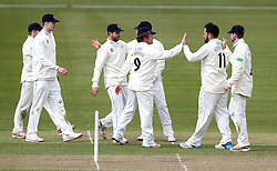 Gloucestershire celebrate Kieran Noema-Barnett's wicket of Edward Pollock of Durham MCC University - Mandatory by-line: Robbie Stephenson/JMP - 01/04/2016 - CRICKET - Bristol County Ground - Bristol, United Kingdom - Gloucestershire v Durham MCC University - MCC University Match