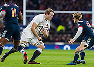 Joe Launchbury in action, England v France in a RBS 6 Nations match at Twickenham Stadium, London, England, on 4th February 2017.