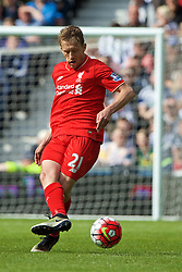 WEST BROMWICH, ENGLAND - Sunday, May 15, 2016: Liverpool's Lucas Leiva in action against West Bromwich Albion during the final Premier League match of the season at the Hawthorns. (Pic by David Rawcliffe/Propaganda)