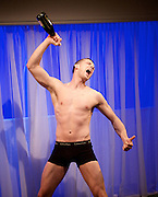 The Pass<br /> by John Donnelly <br /> directed by John Tiffany <br /> at The Royal Court Theatre, Jerwood upstairs, London, Great Britain <br /> press photocall<br /> 16th January 2014 <br /> <br /> Russell Tovey as Jason <br /> <br /> Gary Carr as Ade<br /> <br /> Lisa McGrillis as Lyndsey<br /> <br /> Nico Mirallegro as Harry <br /> <br /> <br /> <br /> <br /> <br /> Photograph by Elliott Franks