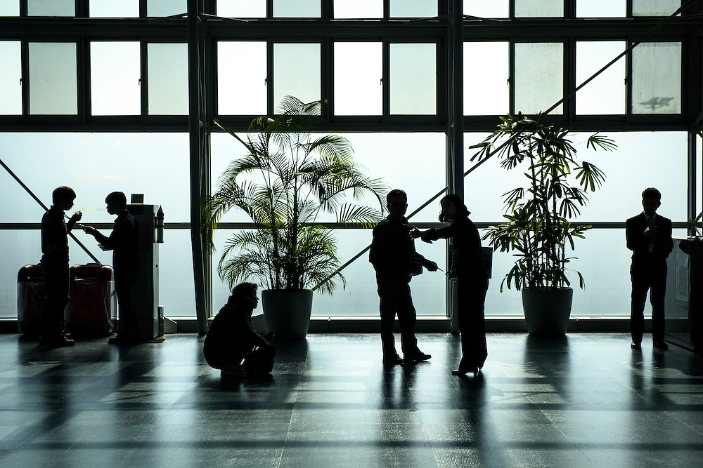 People wait for flights at a gate in Gimhae International Airport, Busan, South Korea.