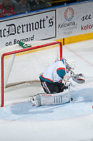 KELOWNA, CANADA - MARCH 27: Jackson Whistle #1 of Kelowna Rockets makes a save against the Tri-City Americans on March 27, 2015 at Prospera Place in Kelowna, British Columbia, Canada.  (Photo by Marissa Baecker/Shoot the Breeze)  *** Local Caption *** Jackson Whistle;
