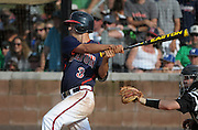 Milton's Dalon Farkas hits a 2-out drive to the outfield to score teammate Andrew Wood for the go-ahead run in the eighth inning of their GHSA AAAAAA State Baseball Championship game against Roswell, Monday, May 27, 2013, in Milton, Ga.   David Tulis / AJC Special