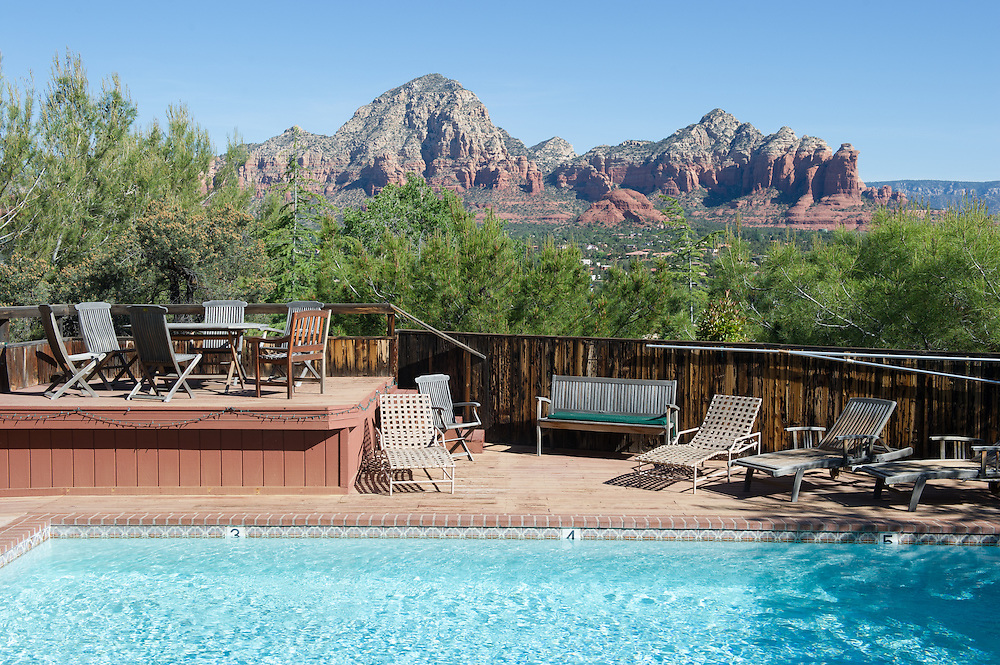 Pool View with far-off Mountains<br /> Sedona, Arizona