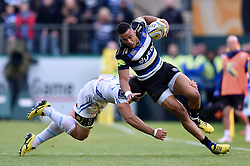 Anthony Watson of Bath Rugby looks to get past a tackle - Mandatory byline: Patrick Khachfe/JMP - 07966 386802 - 17/10/2015 - RUGBY UNION - The Recreation Ground - Bath, England - Bath Rugby v Exeter Chiefs - Aviva Premiership.