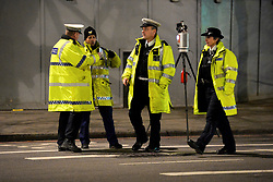 © Licensed to London News Pictures. 18/01/2018. London, UK. Police at the scene in Knightsbridge, London, where a woman died after being hit by a lorry on Brompton Road  shortly before 6pm between the Victoria and Albert Museum and Harrods. Photo credit: Guilhem Baker/LNP