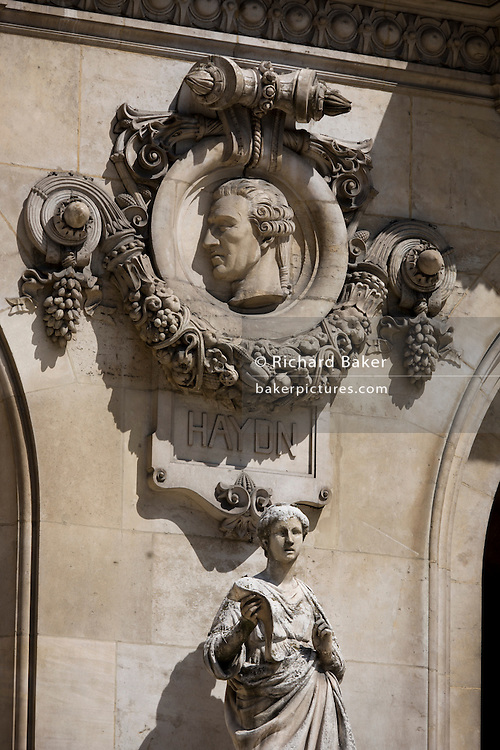 German composer (Franz) Joseph Haydn on the exterior of the Opera Garnier Paris, France. The Palais Garnier is a 1,979-seat opera house, which was built from 1861 to 1875 for the Paris Opera.