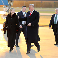 President Donald Trump and Mississippi Senator Cindy Hyde Smith walk together Monday afternoon at the Tupelo Regional Airport.