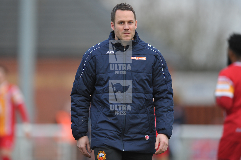 TELFORD COPYRIGHT MIKE SHERIDAN Gloucester boss James Rowe during the Vanarama Conference North fixture between AFC Telford United and Gloucester City at Jubilee Stadium, Evesham on Saturday, December 28, 2019.<br /> <br /> Picture credit: Mike Sheridan/Ultrapress<br /> <br /> MS201920-037