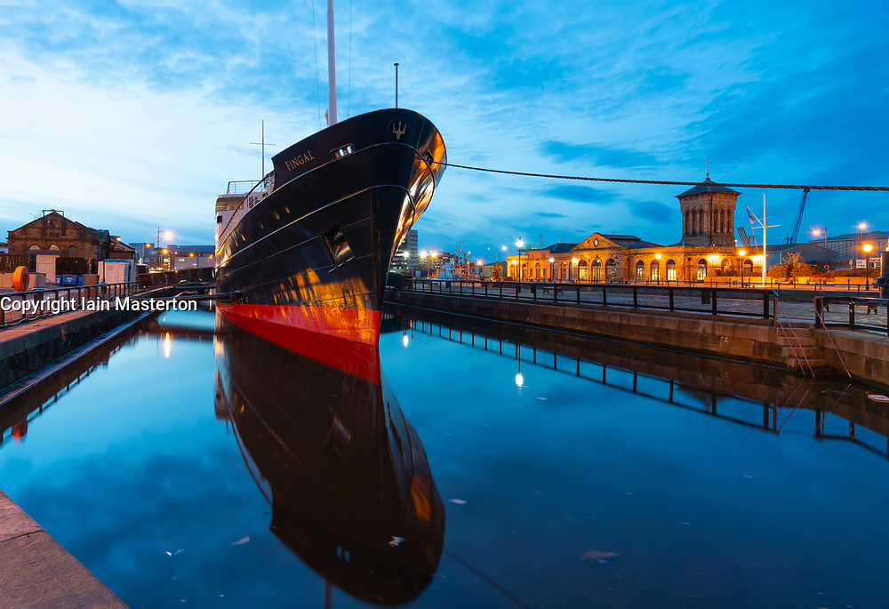 Night view of new Fingal floating hotel in Leith docks, Edinburgh, Scotland, UK