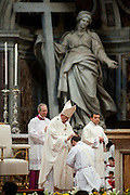Vatican City apr 26th 2015, mass at St Peter's Basilica with the ordination rite. In the picture pope Francis lays his hands on a young priest  - © PIERPAOLO SCAVUZZO