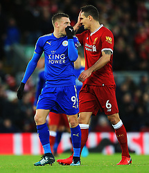 Jamie Vardy of Leicester City talks with Dejan Lovren of Liverpool - Mandatory by-line: Matt McNulty/JMP - 30/12/2017 - FOOTBALL - Anfield - Liverpool, England - Liverpool v Leicester City - Premier League