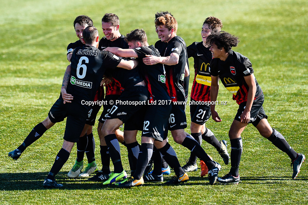 Canterbury players celebrates Stephen Hoyle(17) of Canterbury United goal during the ISPS Handa Premiership Football match, Canterbury V Waitakere United , English Park, Christchurch, New Zealand, 22nd October, 2017.Copyright photo: John Davidson / www.photosport.nz