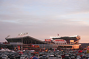 Jan 20, 2019; Kansas City, MO, USA; A general exterior view of Arrowhead stadium is seen prior to the start of the AFC Championship game at Arrowhead Stadium. The Patriots defeated the Chiefs 37-31 in overtime to advance to their fifth Super Bowl in eight seasons. (Robin Alam/Image of Sport)