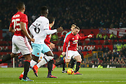 Wayne Rooney Forward of Manchester United shoots at goal during the EFL Cup Quater-Final between Manchester United and West Ham United at Old Trafford, Manchester, England on 30 November 2016. Photo by Phil Duncan.