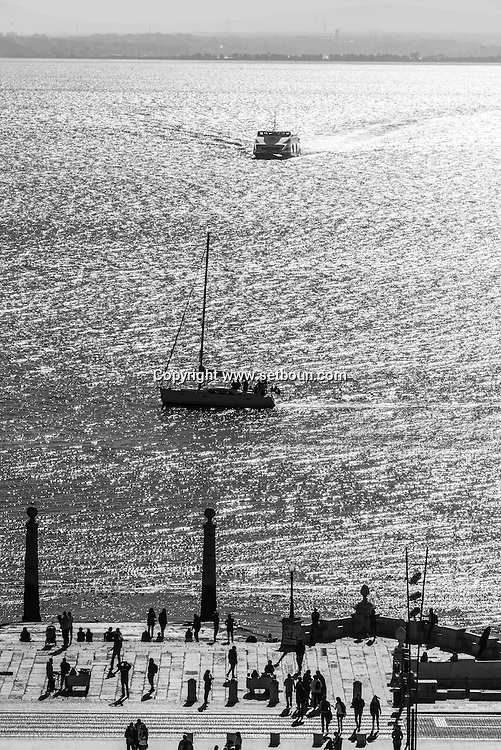 Portugal. Lisbon. elevated view on Praca do Commercio Tagus river in the distance