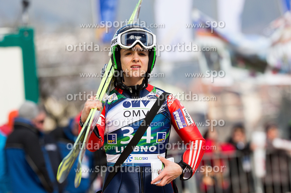 Maja Vtic (SLO) during Trial Round at Day 1 of World Cup Ski Jumping Ladies Ljubno 2015, on February 14, 2015 in Ljubno, Slovenia. Photo by Vid Ponikvar / Sportida