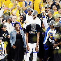 12 June 2017: Golden State Warriors forward Kevin Durant (35) is seen next to his mom Wanda Durant during the Golden State Warriors 129-120 victory over the Cleveland Cavaliers, in game 5 of the 2017 NBA Finals, at the Oracle Arena, Oakland, California, USA.