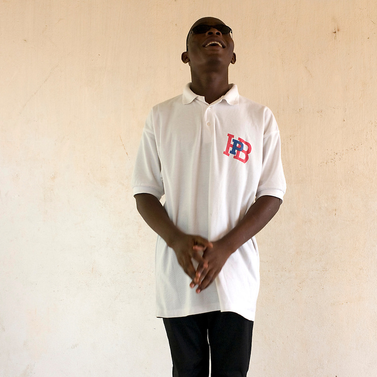 February 2008 - Derrick Toboussou, 16 years old,student at the  School for the Blind in Cotonou, Benin. The School takes 80 blind students surrounding villages and at no cost to their families teaches them geography, science, math and a work for the future. Though the school belongs to the state, it receives considerable funding from ONG.