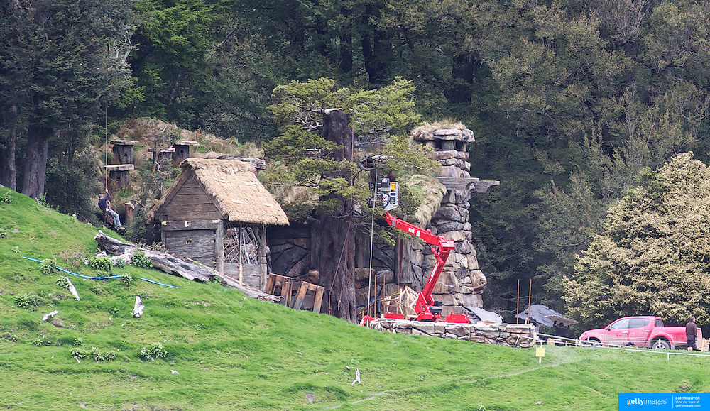Construct work takes place on a set  in preparation for shooting of  Executive producer, writer and director Sir Peter Jackson sequel 'The Hobbit: An Unexpected Journey' in a remote valley in Paradise,  Glenorchy, 66km from Queenstown. South Island, New Zealand. 9th November, 2011
