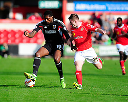 Bristol City's Jay Emmanuel-Thomas controls the ball under pressure from Crewe Alexandra's Oliver Turton - Photo mandatory by-line: Dougie Allward/JMP - Tel: Mobile: 07966 386802 19/10/2013 - SPORT - FOOTBALL - Alexandra Stadium - Crewe - Crewe V Bristol City - Sky Bet League One