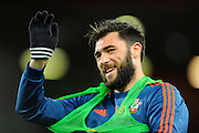 Southampton forward Charlie Austin in the warm up before the Barclays Premier League match between Bournemouth and Southampton at the Goldsands Stadium, Bournemouth, England on 1 March 2016. Photo by Graham Hunt.