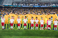 March 28 2017: The Socceroos sing the national anthem at the 2018 FIFA World Cup Qualification match, between The Socceroos and UAE played at Allianz Stadium in Sydney.