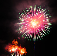 A picture of fireworks on the 4th of July.