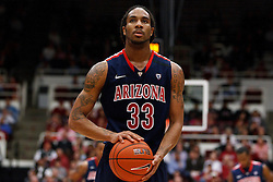 February 3, 2011; Stanford, CA, USA;  Arizona Wildcats forward Jesse Perry (33) before a free throw against the Stanford Cardinal during the second half at Maples Pavilion.  Arizona defeated Stanford 78-69.