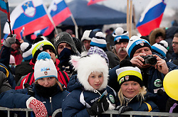 Supporters during Normal Hill Individual Competition at FIS World Cup Ski jumping Ladies Ljubno 2012, on February 11, 2012 in Ljubno ob Savinji, Slovenia. (Photo By Vid Ponikvar / Sportida.com)