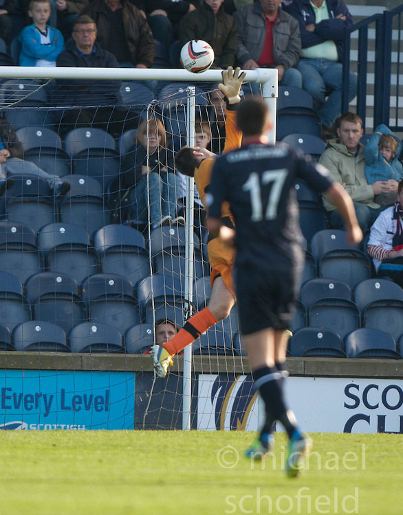 Falkirk's Kris Faulds (17) scoring their goal past Raith Rovers keeper David McGurn.<br /> Raith Rovers 1 v 1 Falkirk, Scottish Championship 28/9/2013.<br /> &copy;Michael Schofield.