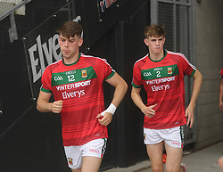 Mayo U20&rsquo;s Oisin McLaughlin and Rory Brickenden both Westport club players run out for the 2nd half.<br />Pic Conor McKeown