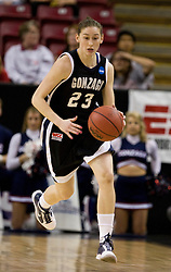 March 27, 2010; Sacramento, CA, USA; Gonzaga Bulldogs guard/forward Katelan Redmon (23) during the first half against the Xavier Musketeers in the semifinals of the Sacramental regional in the 2010 NCAA womens basketball tournament at ARCO Arena.  Xavier defeated Gonzaga 74-56.
