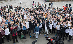 © Licensed to London News Pictures. 04/03/2017. Guildford, UK. Free runners gather during a memorial to remember Nye Newman who died in January. Nye Newman, whose death is thought not to be related to Parkour, died in Paris. Free running or Parkour involves jumping and climbing on building, railings and walls.  Photo credit: Peter Macdiarmid/LNP