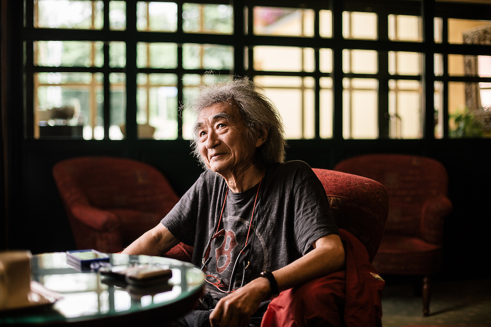 Nyon, Suisse - 26 juin 2014: <br /> Le chef d'orchestre japonais Seji Ozawa.<br /> Cr&eacute;dits: Niels Ackermann / Lundi13