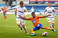 1. divisjon fotball 2018: Aalesund - Åsane (1-0). Aalesunds Nenass (Erikson Spinola Lima) (t.h.) i duell med Jonas Hestetun i kampen i 1. divisjon i fotball mellom Aalesund og Åsane på Color Line Stadion.
