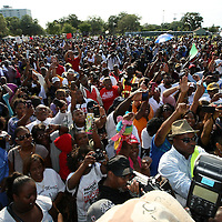 Thousands of supporters show support during a rally for the shooting of Trayvon Martin on Thursday,March 22, 2012 at Fort Mellon Park in Sanford, Florida. (AP Photo/Alex Menendez) Trayvon Martin rally in Sanford, Florida.