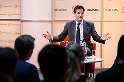 © licensed to London News Pictures. London, UK 09/05/2014. Deputy Prime Minister and leader of Liberal Democrat party, Nick Clegg gives a speech and holds a Q&A session on Europe at Thomson Reuters Building in Canary Wharf, London. Photo credit: Tolga Akmen/LNP