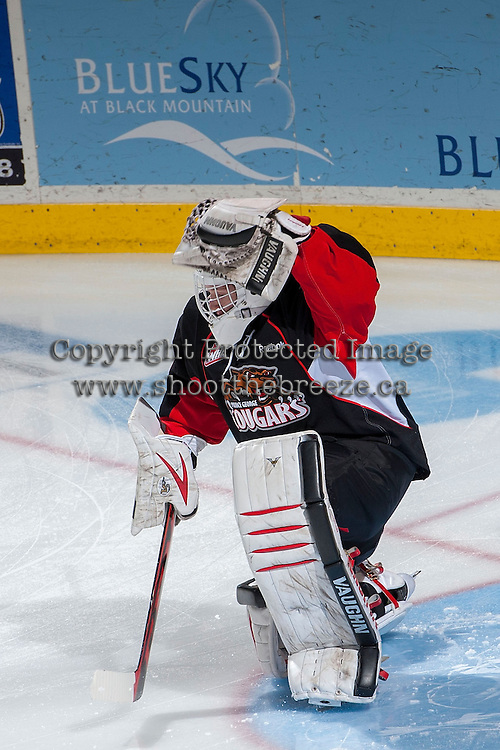 KELOWNA, CANADA -FEBRUARY 25: Ty Edmonds #35 of the Prince George Cougars warms up against the Kelowna Rockets on February 25, 2014 at Prospera Place in Kelowna, British Columbia, Canada.   (Photo by Marissa Baecker/Getty Images)  *** Local Caption *** Ty Edmonds;