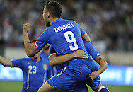 Ciro Immobile of Italy celebrates scoring their first goal during the International Friendly match at Stadio San Nicola, Bari<br /> Picture by Stefano Gnech/Focus Images Ltd +39 333 1641678<br /> 04/09/2014