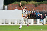 Wicket - Craig Overton of Somerset celebrates taking the catch to diamiss Sam Robson of Middlesex off the bowling of Jack Leach of Somerset during the Specsavers County Champ Div 1 match between Somerset County Cricket Club and Middlesex County Cricket Club at the Cooper Associates County Ground, Taunton, United Kingdom on 27 September 2017. Photo by Graham Hunt.