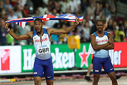 London, August 12 2017 . Nethaneel Mitchell-Blake celebrates Great Britain and Northern Ireland's win the men's 4x 100m relay  on day nine of the IAAF London 2017 world Championships at the London Stadium. © Paul Davey.