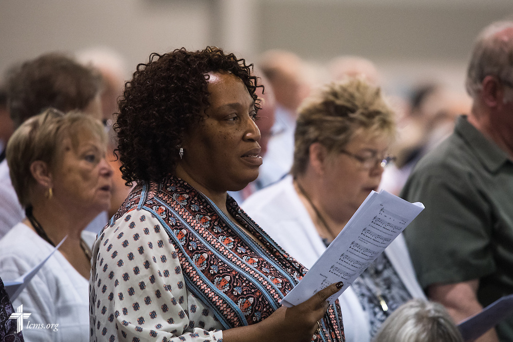 Worshippers sing during the Opening Divine Service of the 66th Regular Convention of The Lutheran Church–Missouri Synod on Saturday, July 9, 2016, at the Wisconsin Center in Milwaukee. LCMS/Frank Kohn